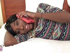 Sexy Jada Dickens is a hot black tgirl with a sexy slim body, natural tits with big nipples, a sexy firm ass and a hard cock! Watch this hot Grooby girl getting a sexy blowjob before her man Prince fucks her lovely ass!