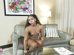 Anna After Dark is a sexy tgirl with a hot slim body, natural breasts, a hot bubble butt and a rock hard cock! See this horny black tgirl stroking her hard dick!