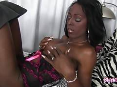 Beautiful black smooth skin nice cock and ass on her.