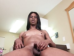 Sexy Denisha is a hot black tgirl with a sexy body, small hormone breasts, a firm bubble butt and a rock hard cock! Enjoy this horny transgirl stroking her cock!