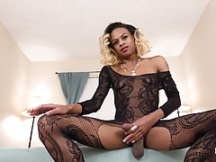 Cleopatra Blacc returns! This sexy ebony babe got a hot slim body, small natural boobs and a thick hard cock! Watch her posing in her sexy fishnet body suit, showing off her perfect ass and stroking her dick for you!